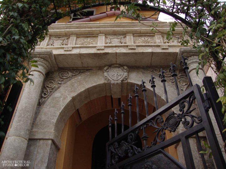 Italian Roman style entryway hand carved natural limestone entrance columns keyhole Canada Ontario Toronto Vancouver Architectural Stone Decor