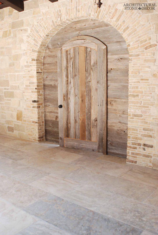 Tuscan Mediterranean style villa antique limestone entryway French stone Barre Blonde flooring planks Toronto