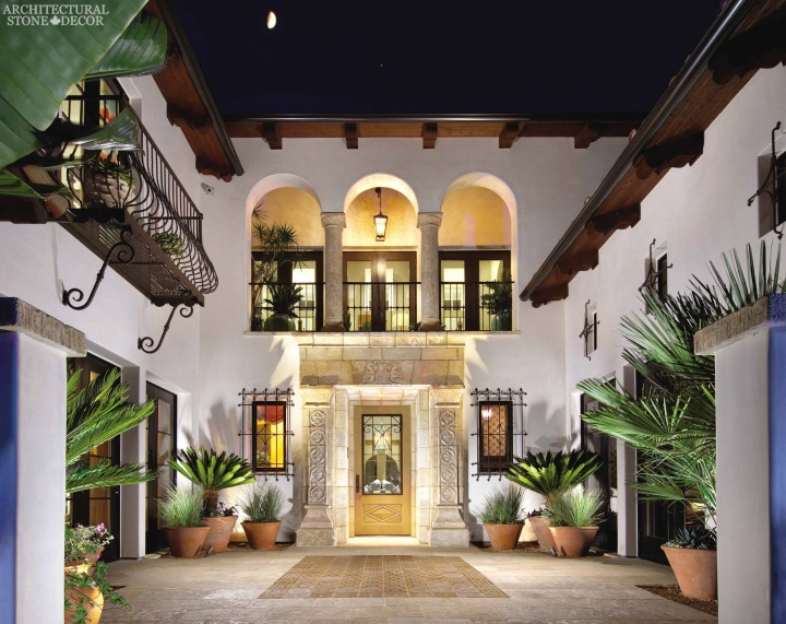 Tuscan Mediterranean style villa antique limestone entryway French stone Dalle de Bourgogne flooring Barre Montpelier wall cladding reclaimed colored cement pavers Ontario Toronto