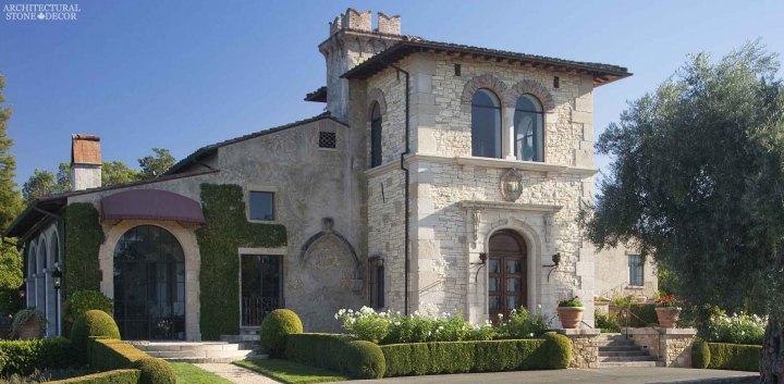 Tuscan Style villa hand carved stone entrance Canada Ontario Toronto British columbia Architectural Stone Decor