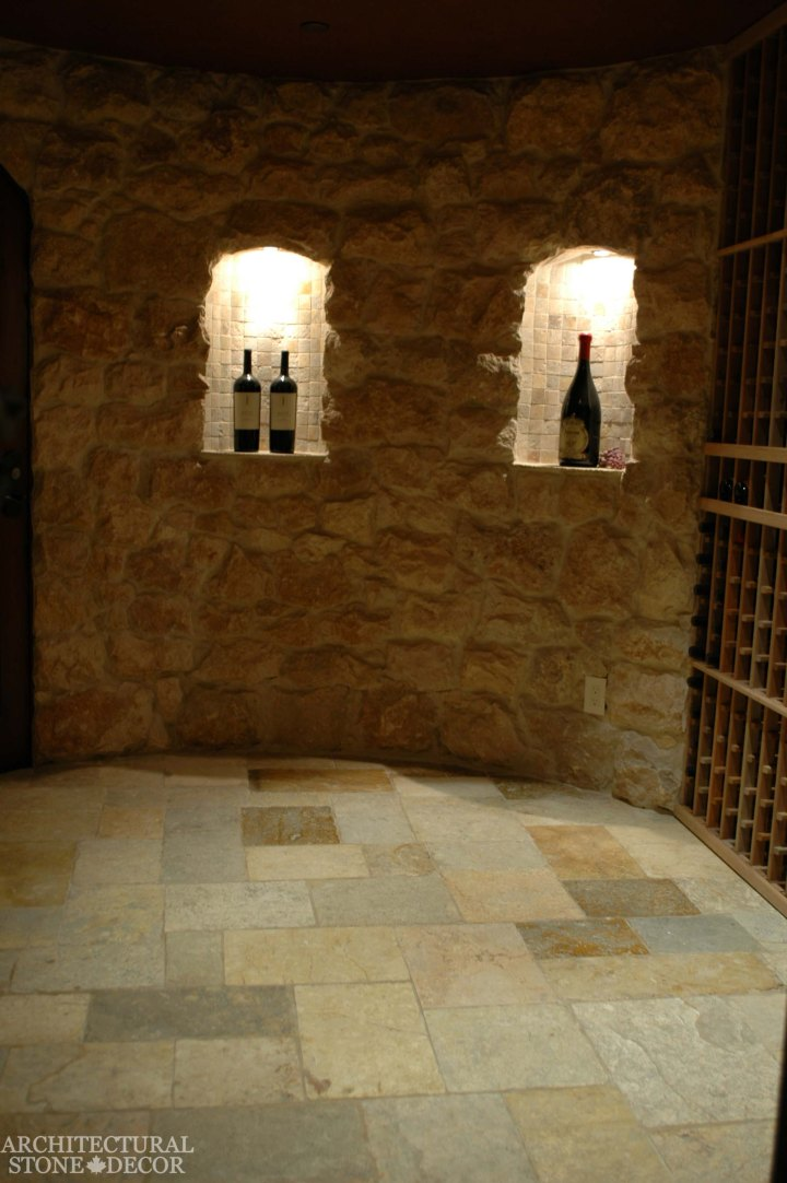 Antique Rustic Old world wine cellar salvaged reclaimed limestone flooring Tuscan stone wall cladding niches keyholes