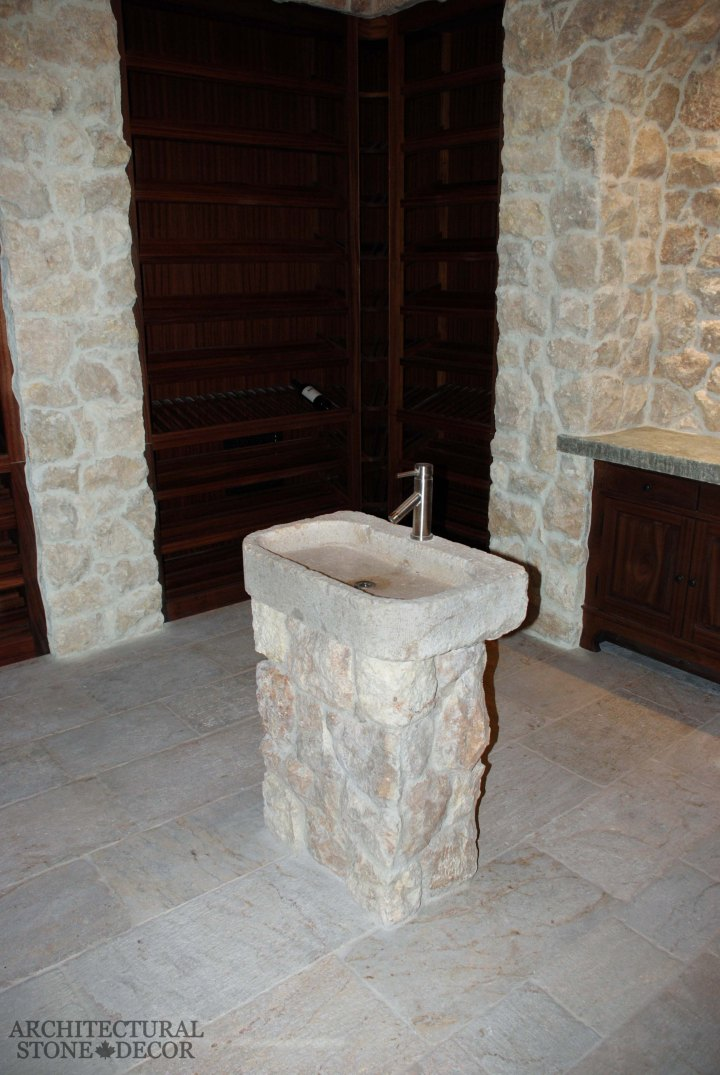 rustic reclaimed antique salvaged hand carved limestone natural stone sink Tuscan wall cladding flooring Toronto Canada