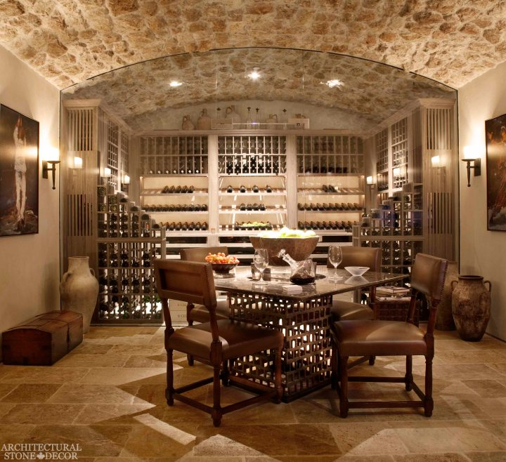 Antique Rustic Old world wine cellar salvaged reclaimed limestone ceiling and flooring
