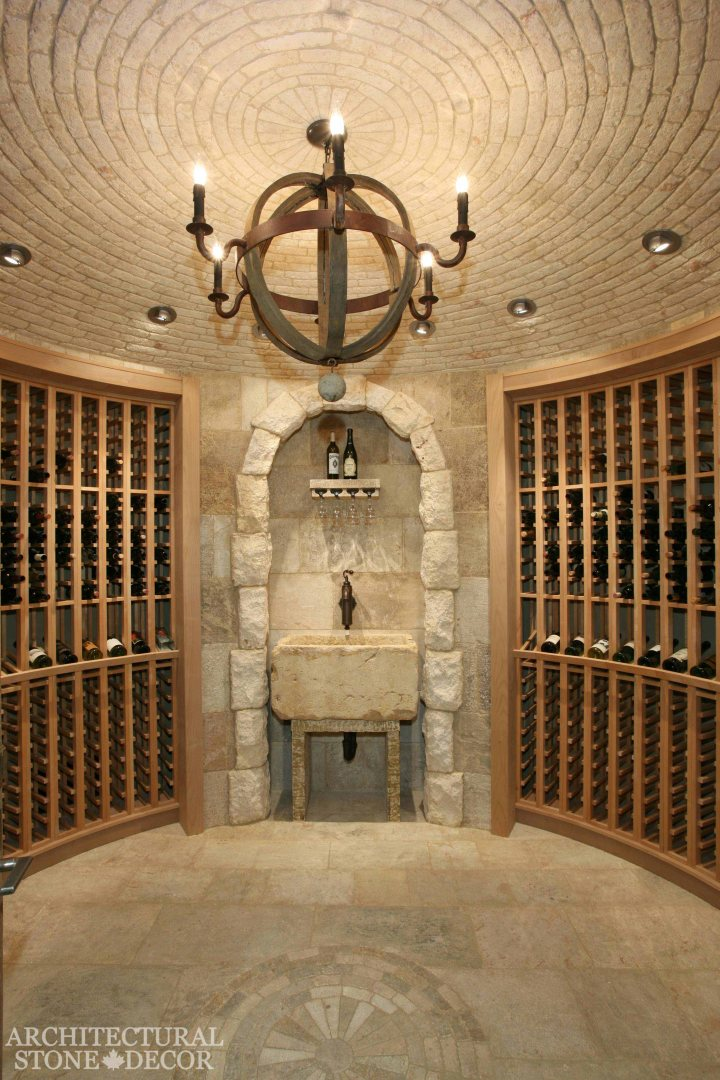 Antique Rustic Old world wine cellar salvaged reclaimed limestone sink entryway arch wall cladding ceiling and flooring