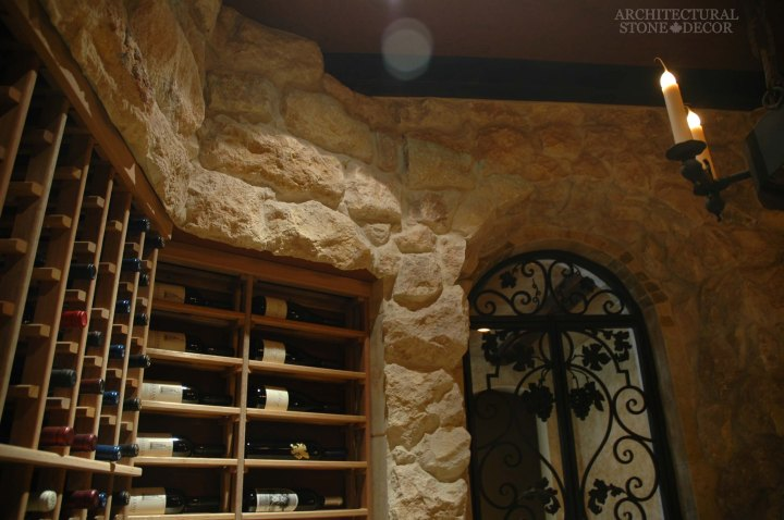 rustic old world style wine cellar tuscan wall cladding natural stone reclaimed limestone metal gate