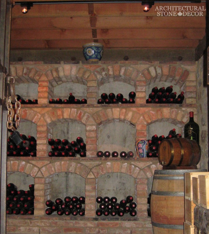 Antique Rustic Old world wine cellar salvaged reclaimed built in bricks