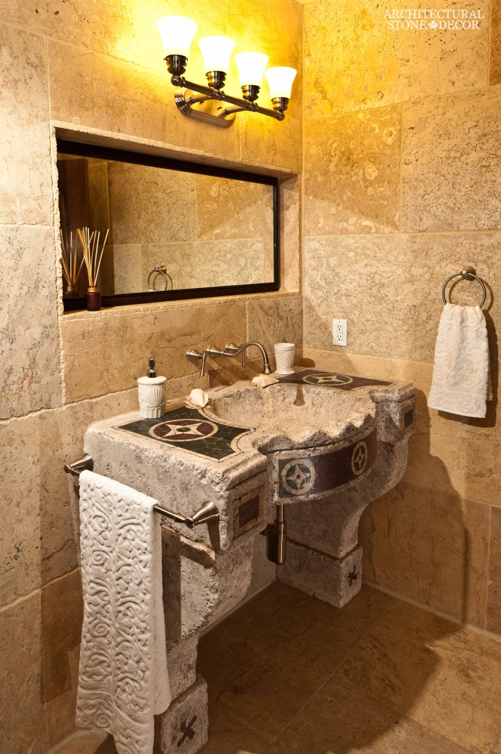 antique rustic reclaimed natural limestone stone flooring tiles planks old world Barre Blonde bathroom sink wall cladding