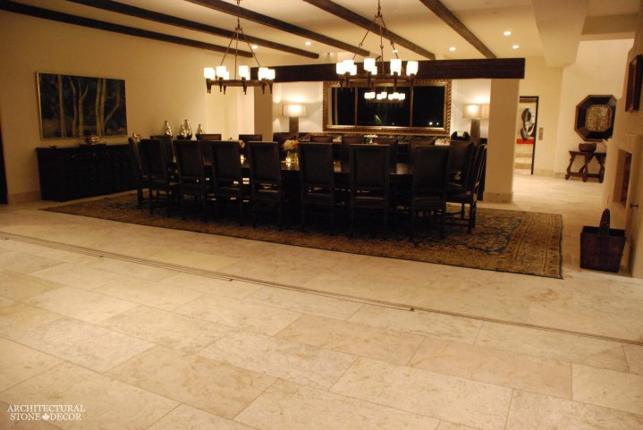 antique rustic reclaimed natural limestone stone flooring tiles planks old world Barre Blonde dining room modern neolithic