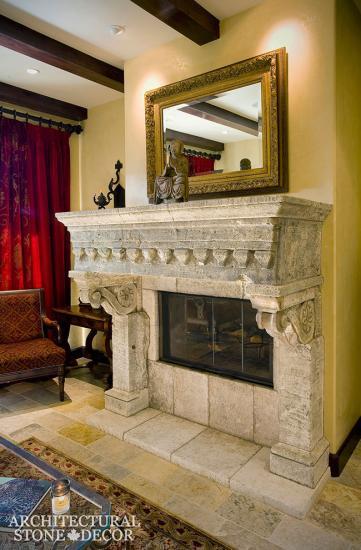 Canada-antique-limestone-fireplace