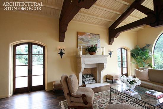 Limestone-fireplace