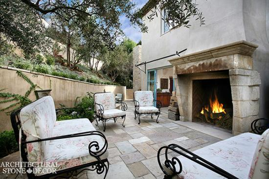 Outdoor-antique-limestone-fireplace-mantle