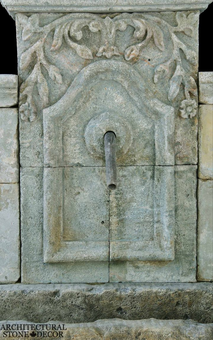 Arabesque antique old rustic reclaimed old world natural stone hand carved limestone exterior outdoor water wall fountain garden design ideas landscape