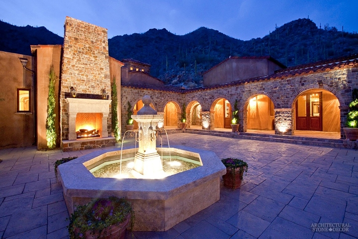 antique-limestone-pool-fountain-installed-in-villa-courtyard-backyard-outdoor-fireplace