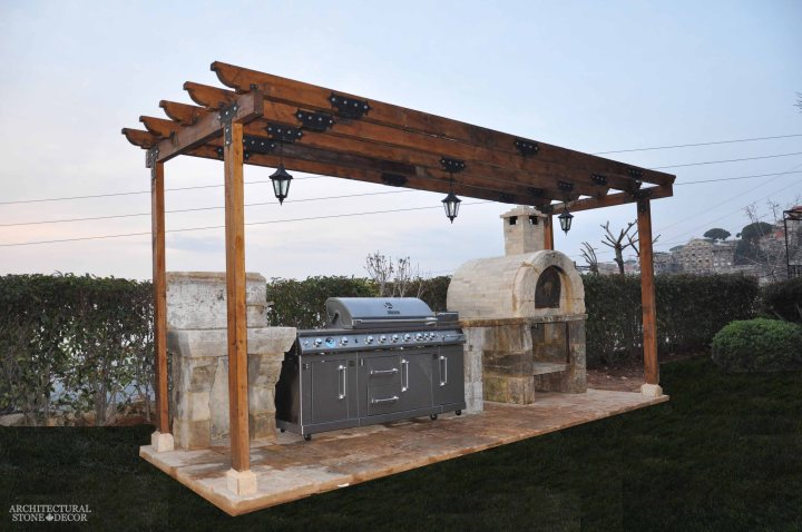 outdoor kitchen landscape home design decor old natural stone garden