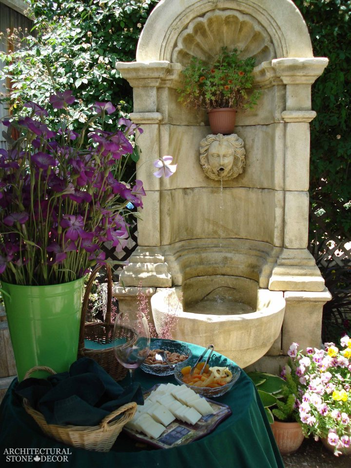 French Provincial antique old rustic reclaimed old world natural stone hand carved limestone exterior outdoor water wall fountain garden design ideas landscape