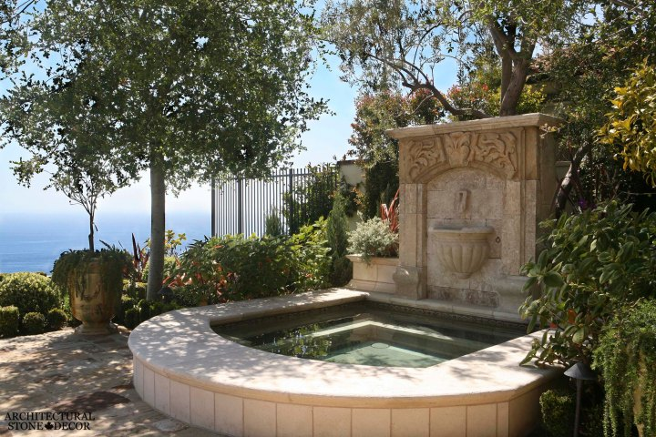 antique old rustic reclaimed old world natural stone hand carved limestone exteriorMediterranean outdoor water wall fountain garden design ideas landscape