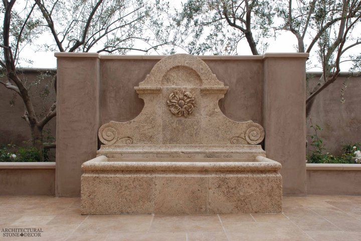 French Provincial newly carved modern natural stone hand carved limestone exterior outdoor water wall fountain garden design ideas landscape