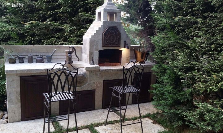 compact outdoor kitchen old reclaimed rustic limestone sink