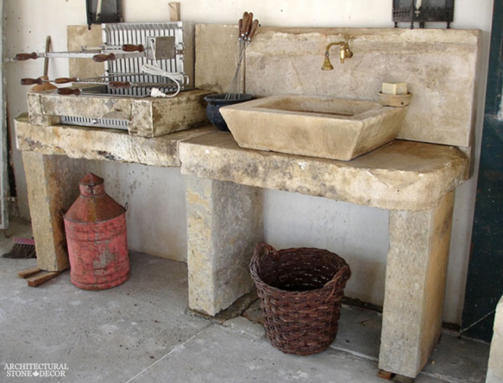 minimalist rustic reclaimed limestone outdoor kitchen sink barbecue canada