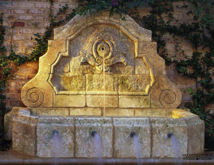 Tuscan antique old rustic reclaimed old world natural stone hand carved limestone exterior outdoor water wall fountain garden design ideas landscape