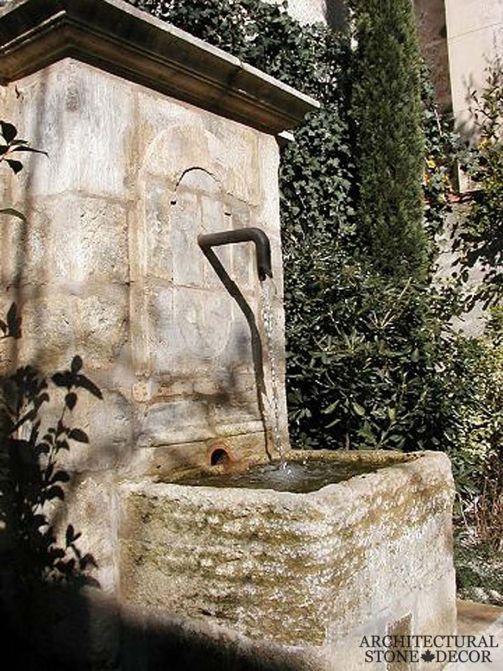 Tuscan raw antique old rustic reclaimed old world natural stone hand carved limestone exterior outdoor water wall fountain garden design ideas landscape
