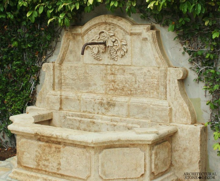 Tuscan Mediterranean antique old rustic reclaimed old world natural stone hand carved limestone exterior outdoor water wall fountain garden design ideas landscape