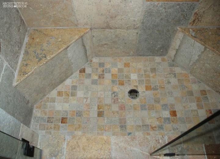 Mediterranean shower bathroom design limestone flooring wall cladding benches ca