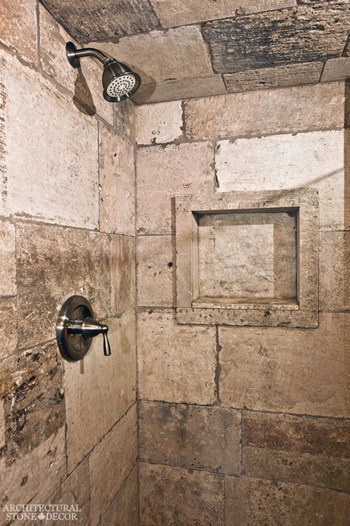 Medieval old world bathroom design interior limestone natural stone shower ca