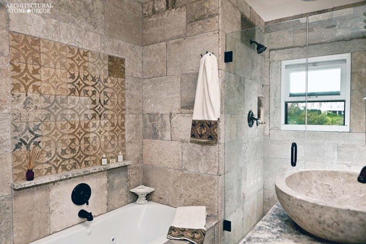 Medieval style bathroom old world limestone natural stone shower hand etched wall design wall cladding sink ca