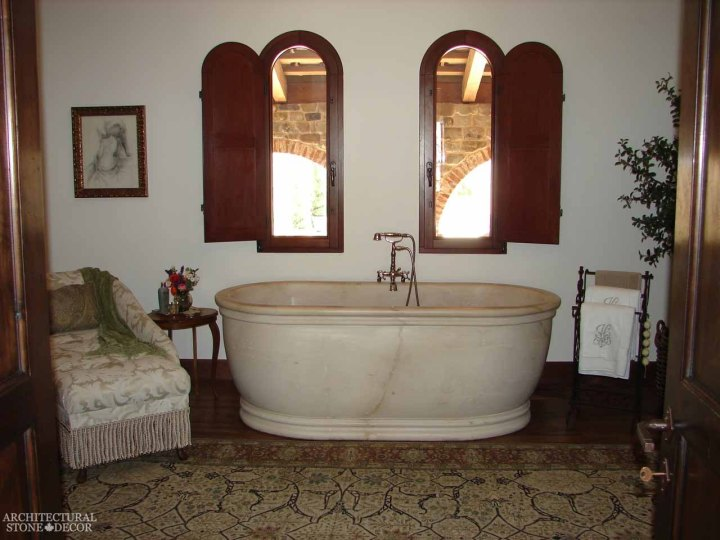 Country style bathroom hand carved limestone bathtub