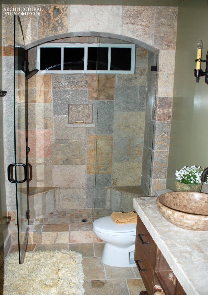 Farmhouse bathroom design idea shower limestone natural stone flooring wall cladding sink countertop canada ca