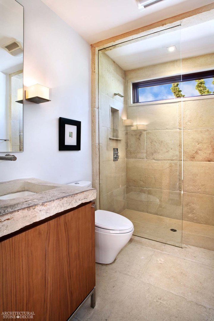 mediterranean reclaimed limestone natural stone shower canada
