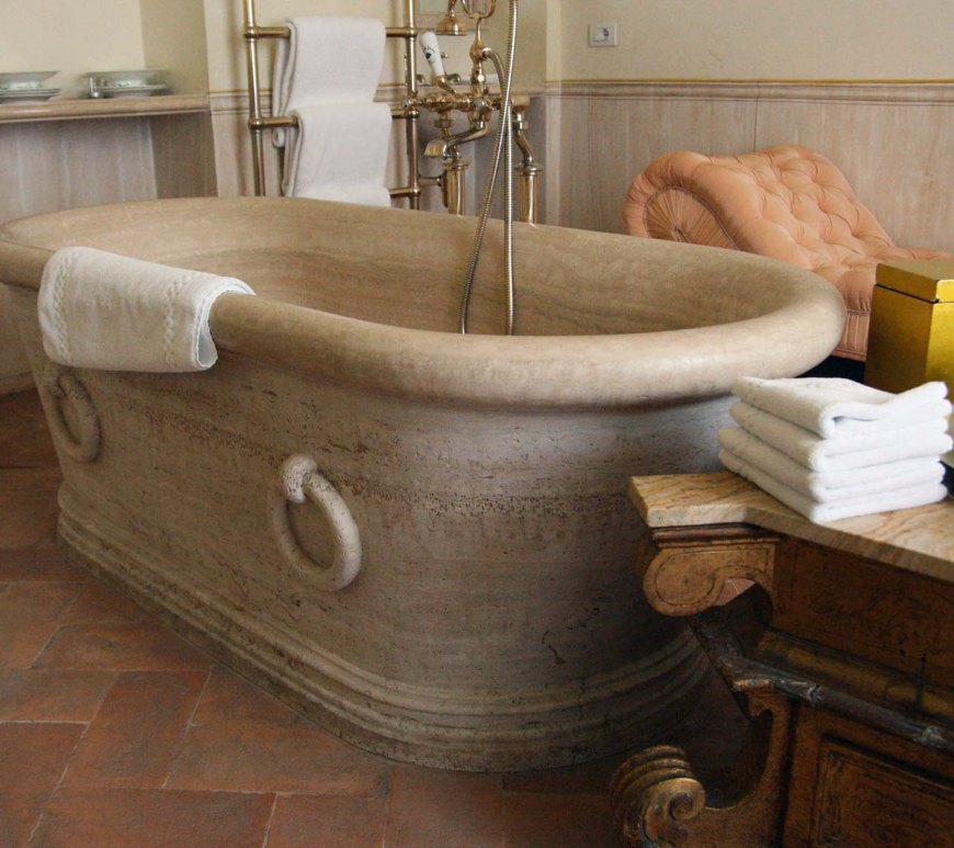 French provincial hand carved natural limestone bathtub