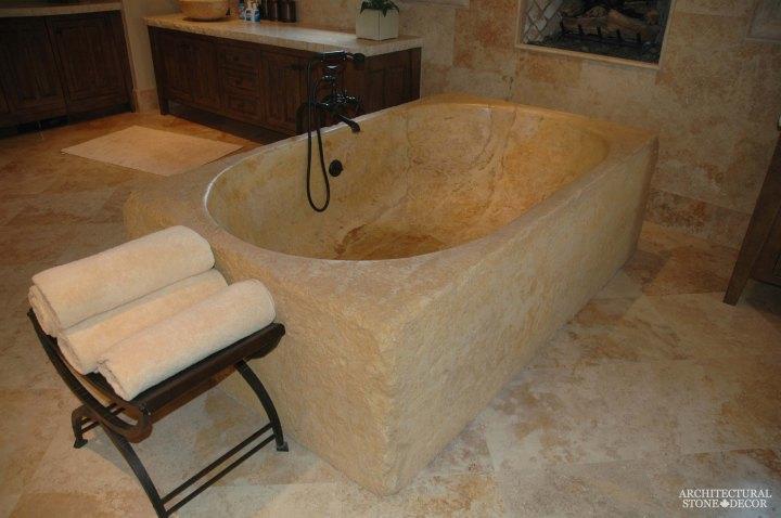 minimalist reclaimed limestone natural stone bathtub