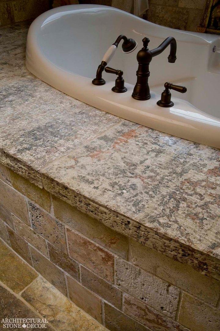 Tuscan bathtub reclaimed natural limestone stone
