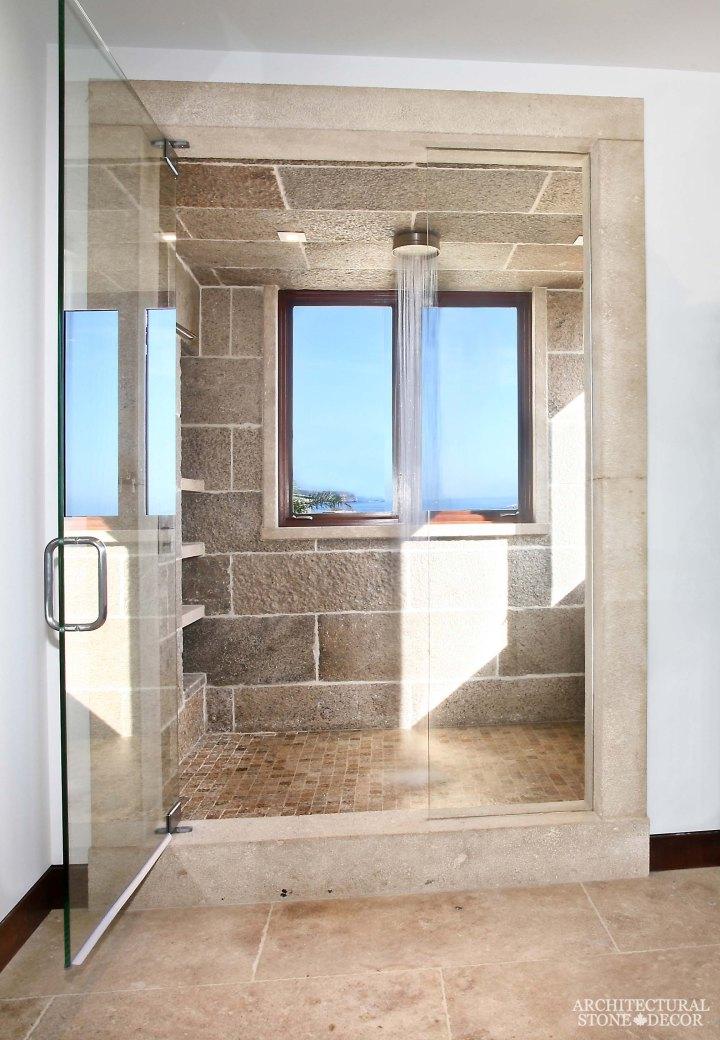 modern new bathroom design interior ideas canada limestone natural stone bench