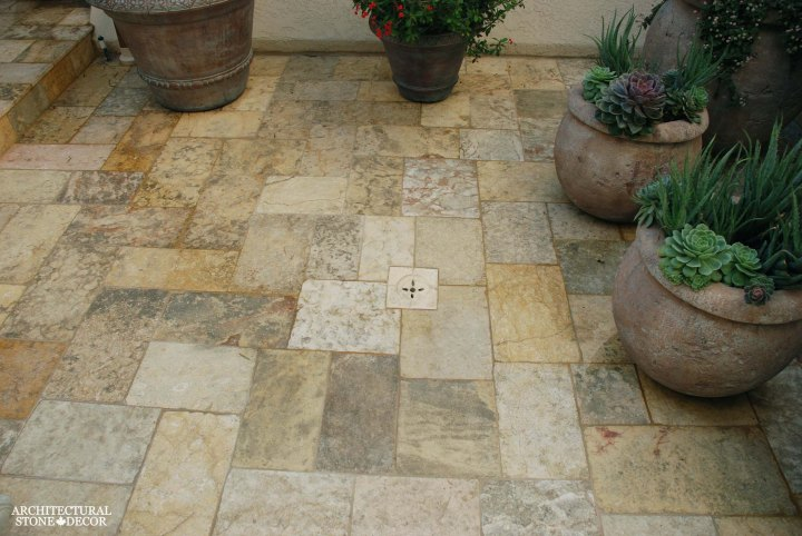 antique reclaimed old world natural stone limestone outdoor flooring backyard