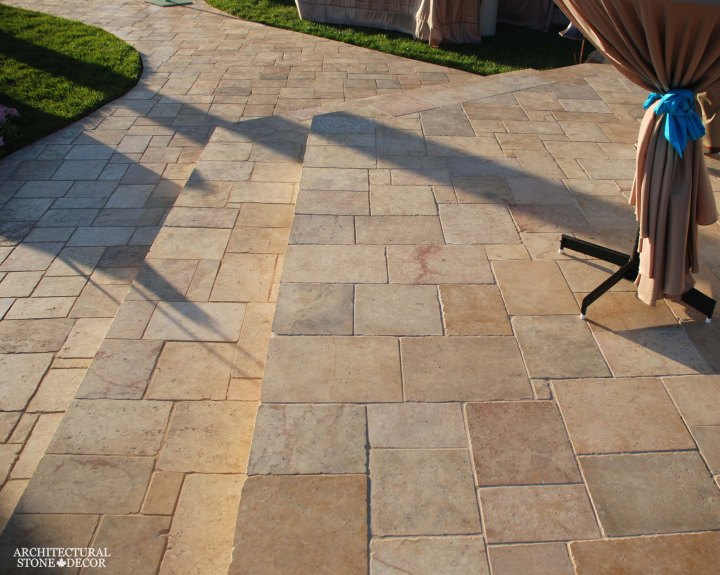 antique reclaimed natural limestone outdoor flooring backyard Barre Grey