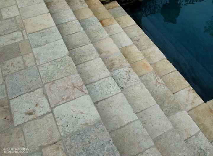 reclaimed old rustic limestone flooring stair steps pool outdoor home design decor ca