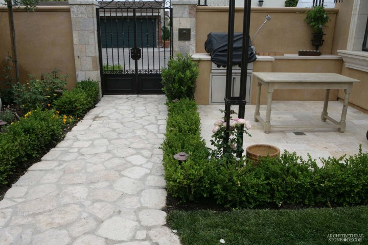 reclaimed rustic old honed cobble stone outdoor flooring front yard
