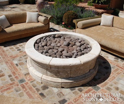 reclaimed brick flooring outdoor backyard stone fire pit ca
