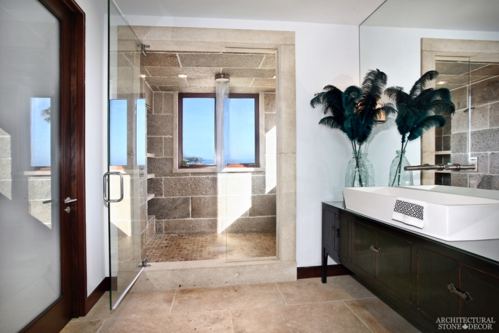 modern Eclectic style master bathroom reclaimed antiqued stone shower flooring wall cladding canada ca
