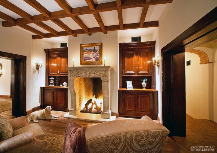 farmhouse style master bedroom reclaiemd antiqued limestone fireplace mantel canada ca