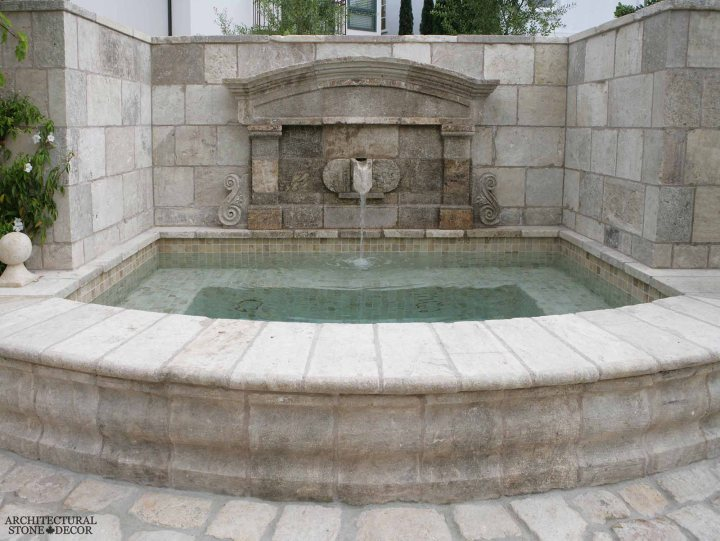 Outdoor Exterior Mediterranean style wall fountain natural stone reclaimed rustic old world limestone wall cladding veneer Canada ca