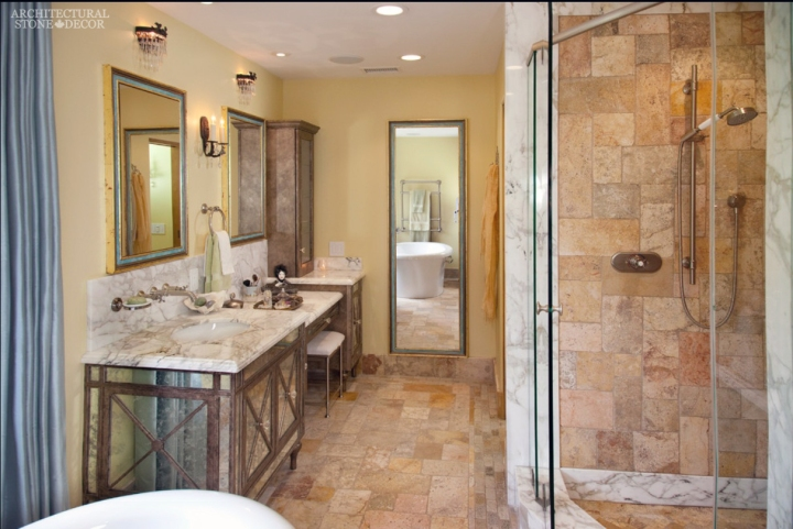 french country style master bathroom reclaimed antiqued limestone marble built-in shower sinks canada ca