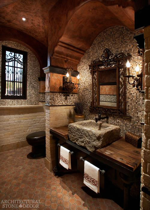 old world Craftsman rustic style master bathroom reclaimed limestone stone trough sink canada ca