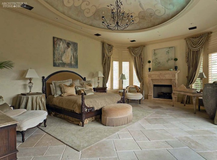 louis style master bedroom reclaimed flooring planks natural stone fireplace mantel canada ca