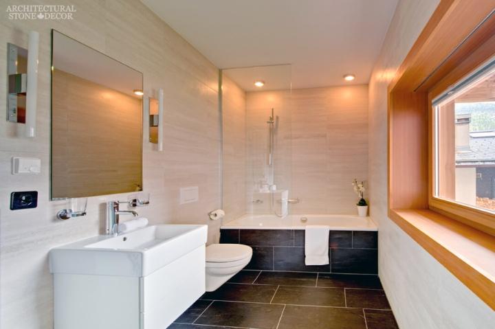 Modern master bathroom black basalt flooring canada ca