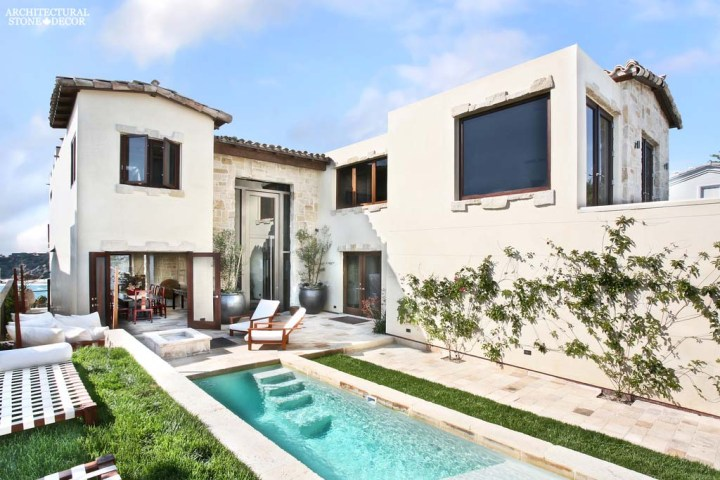 Tuscan style west coast villa canada ca limestone stone exterior wall cladding