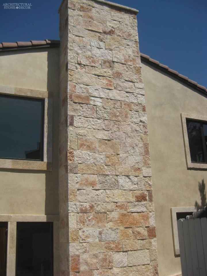 Outdoor Exterior Saladino rough natural stone reclaimed rustic old world limestone wall cladding veneer canada ca